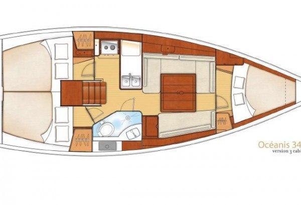 Beneteau Oceanis 34 - plattegrond
